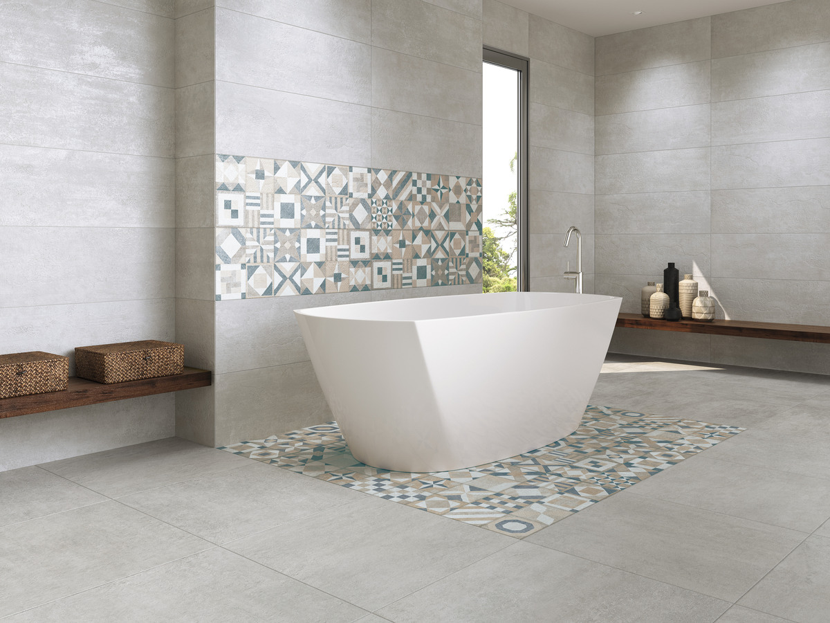 El desaf o en decoraci n baldosas con acabado cemento for Estuco para banos