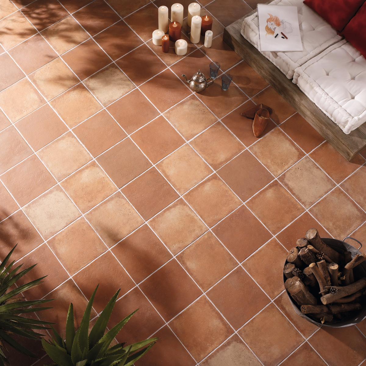 Porcelain terracotta floor tiles