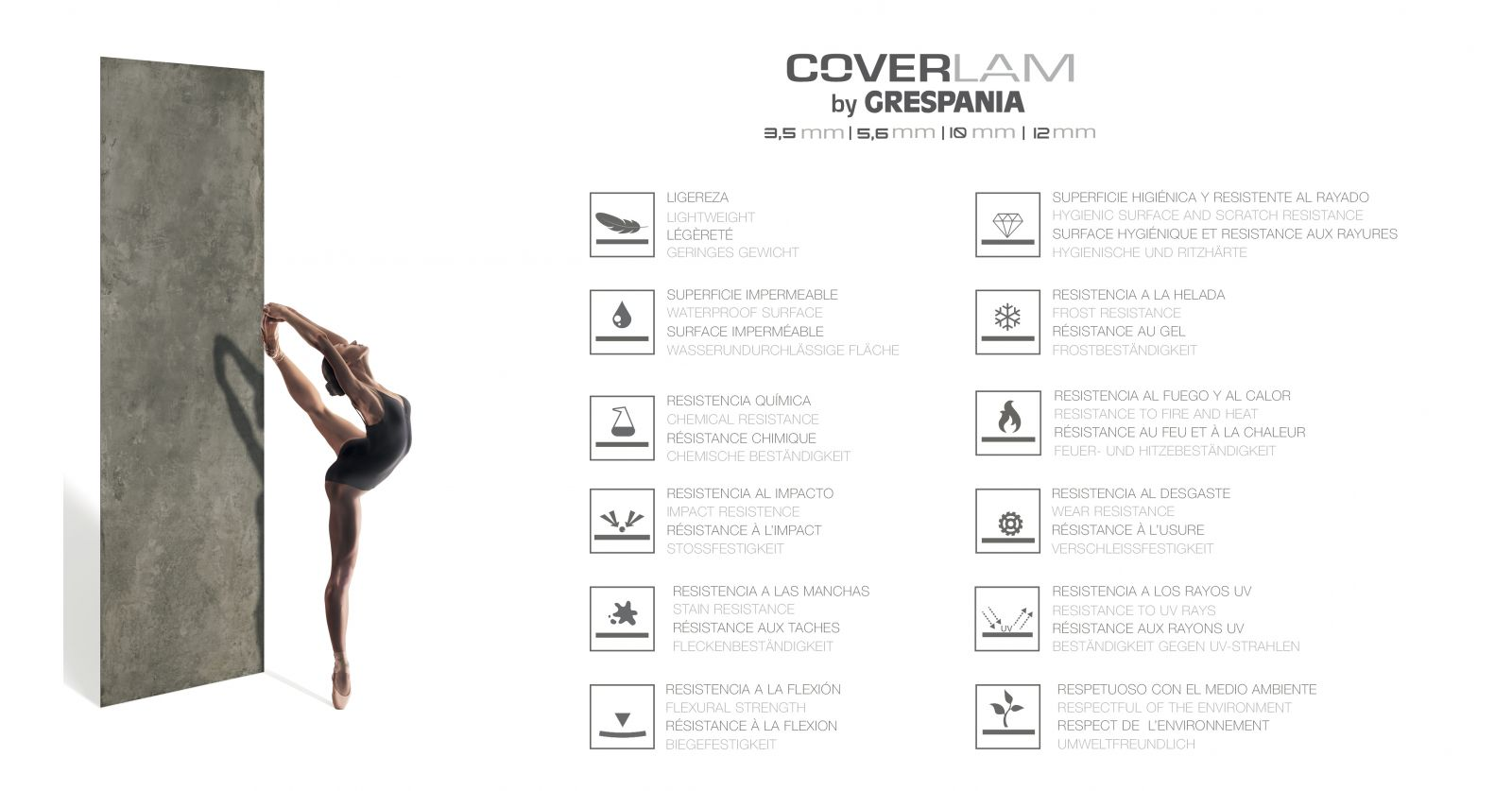 Coverlam large format and thin thickness porcelain tiles by grespania thick while still maintaining the mechanical and aesthetic properties characteristic of porcelain tile this broadens the scope of porcelain dailygadgetfo Gallery